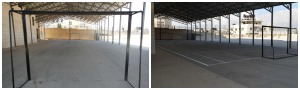 The soccer & volleyball courts before & after (lines painted & nets attached)