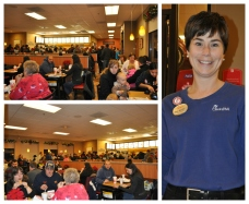 Packed dining room & excellent Chick-fil-A staff member