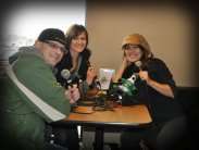 Jody & Jamie (L) on the radio with Kid's Cookie Break host, Lisa Landis (R)